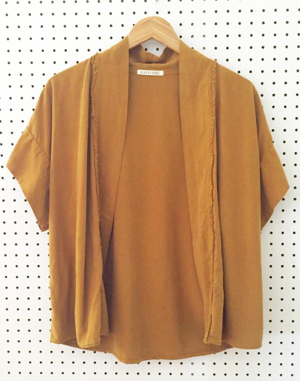 Black Crane Kimono Jacket - Gold