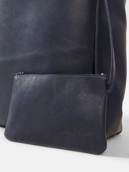 Erica Tanov leather shopping tote - navy