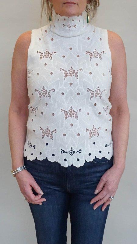 Rachel Comey Phaedrea Turtleneck Tank Top - Oyster Eyelet Knit