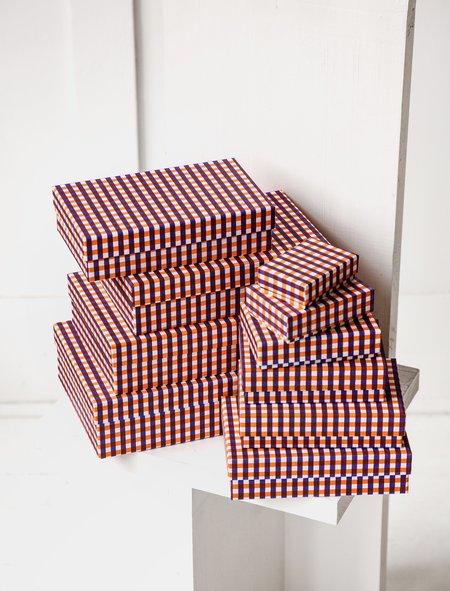 Carta Pura Set of Boxes Chiyogami - Orange Plaid