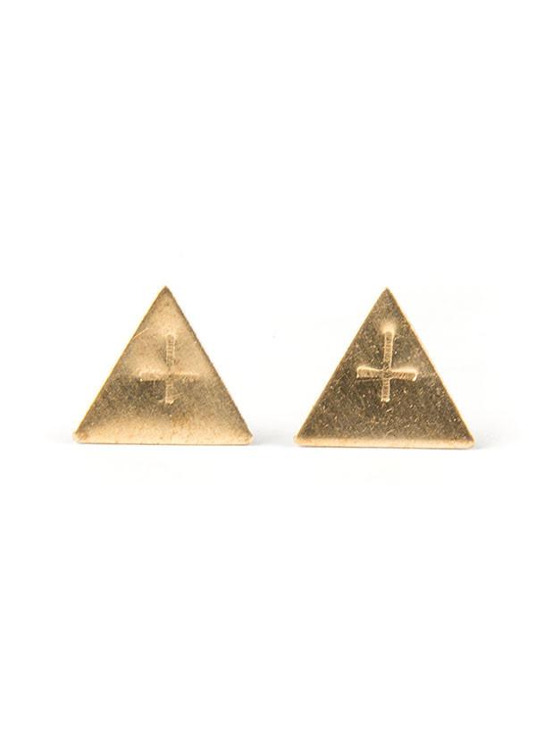 Olivia Solie - Judas Stud Earrings in Brass