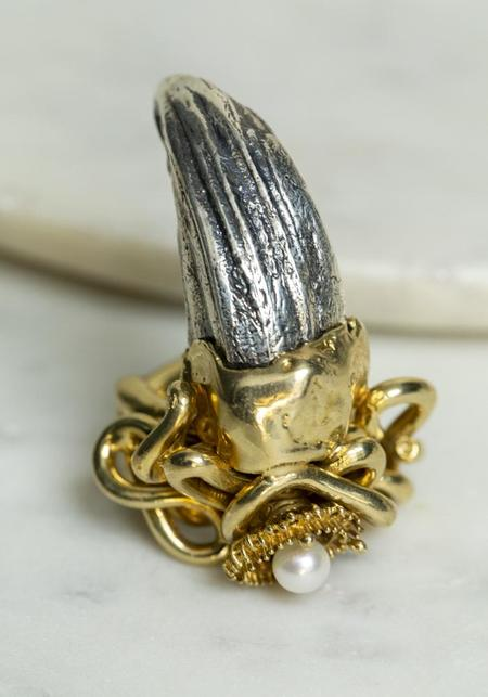 Angostura Organic Baroque Horn Ring - Brass/Pearl/Silver