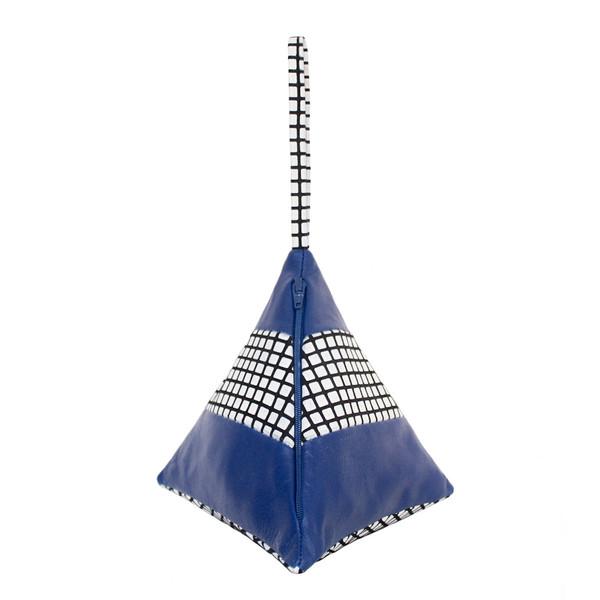 Striped Pyramid Bag in Blue Grid