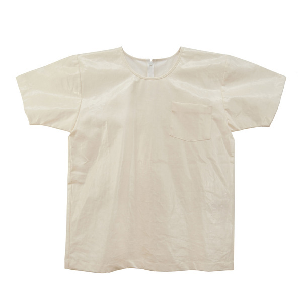 White T-Shirt in Coated Linen