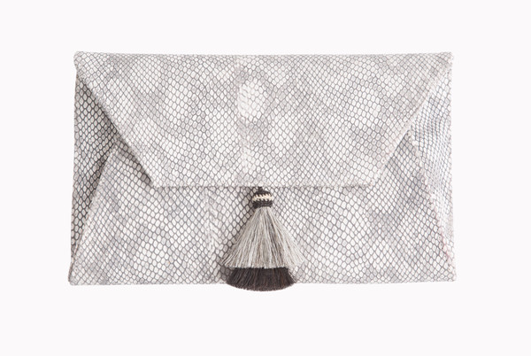 Oliveve Cleo Envelope Clutch In Grey Cobra Embossed cow leather with horsehair tassel
