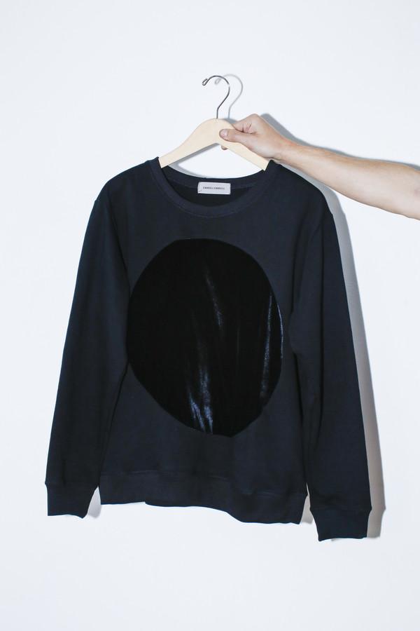 Unisex Correll Correll Velvet Circle Sweatshirt | Black