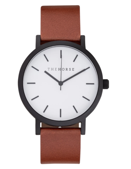 The Horse A9 watch - matte black/white face/tan band