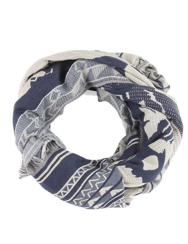 Hoss Intropia Denim Pattern Scarf