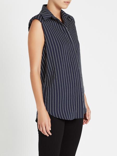 C & M Camilla And Marc Pollino Stripe Sleeveless Shirt - Navy/White Stripe