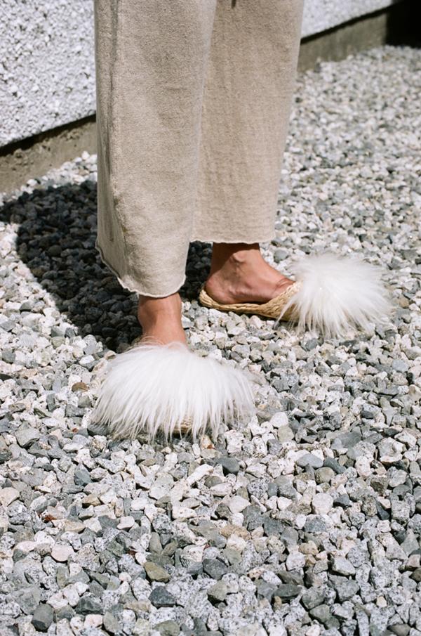 Folk Fortune Straw Slippers - lamb wool shearling