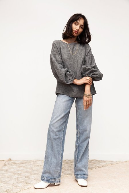 BEFORE MARCH Bella blouse - grey chambray