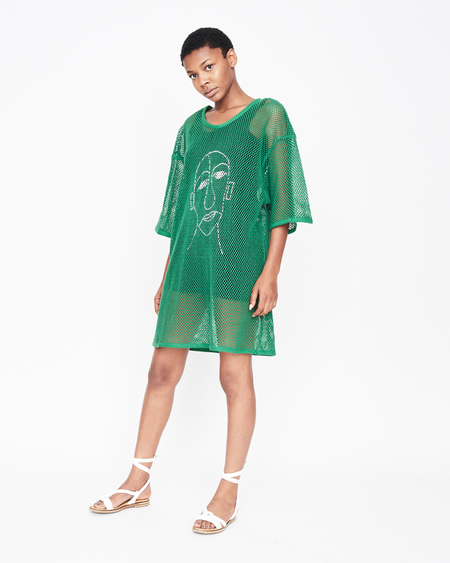 William Okpo Man Face Mesh Dress