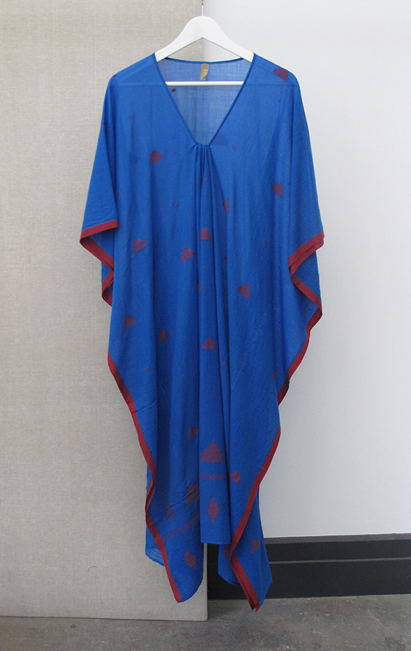 Two New York Bright blue Caftan with red icons