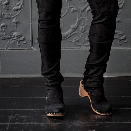 Lisa B. High Heel Suede Clogs - Black