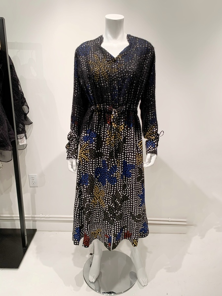 Mii polka dot cinch long sleeve silk dress