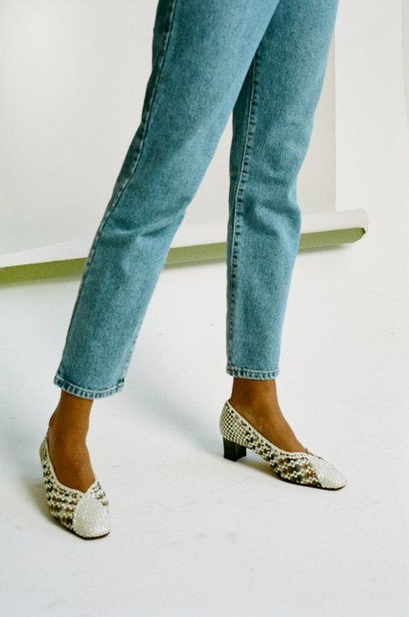 Vintage Alexandria Woven Court Shoes - White