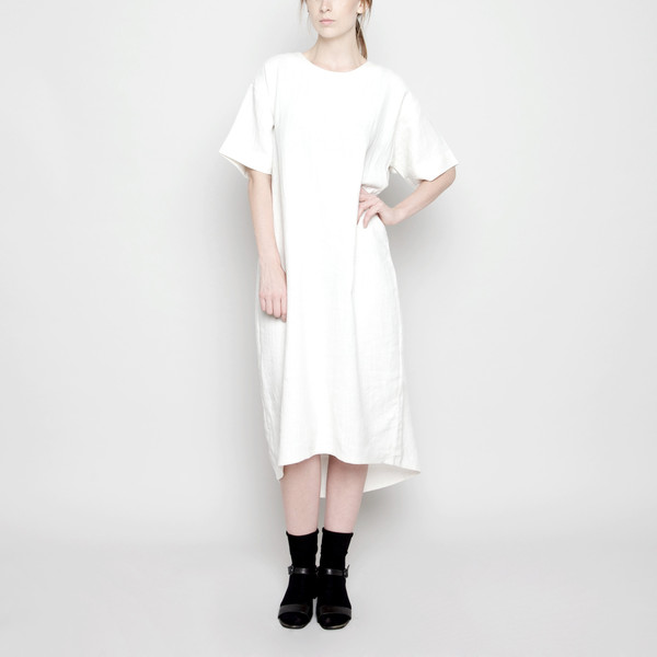 7115 by Szeki Relaxed Boat-Neck Midi Off-White FW16
