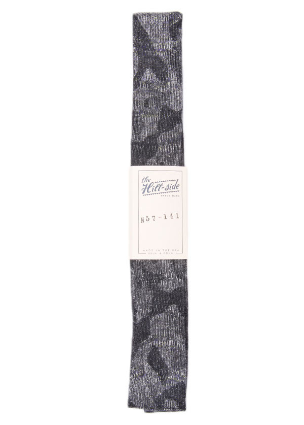 The Hill-Side - Jacquard Woven Fuzzy Nordic Camouflage Tie in Black