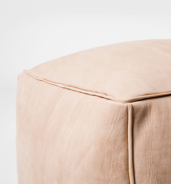 MindaHome Cube Leather Pouf