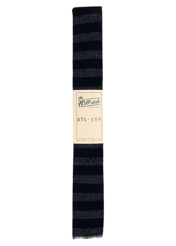 The Hill-Side - Selvedge Covert Stripe Necktie, Indigo