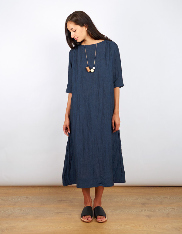 Sunja Link Collab Gathered Yoke Dress Navy