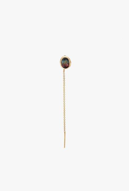 Fie Isolde Alfa Threader medium Earring - 14k yellow gold/watermelon tourmaline