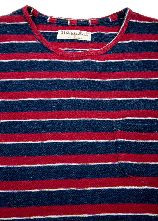 The West is Dead - Mens Pocket Tee in Red White and Indigo Stripe