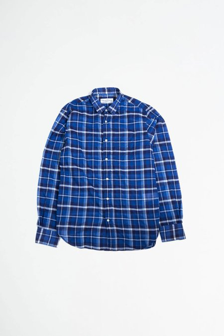 Officine Generale Lipp Stitch Shirt - Indigo/White Check