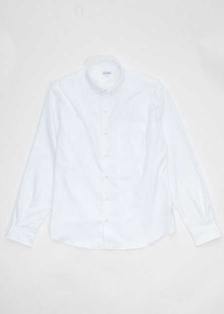 Steven Alan Single Needle Shirt - White Brushed Oxford