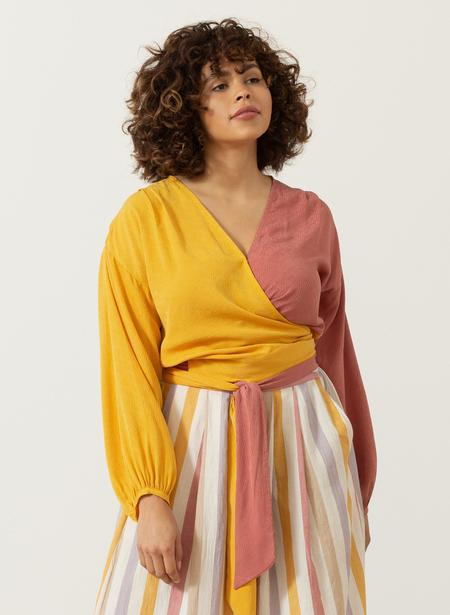 Seek Collective Silk Jacquard Paige Top - Sunset Ripple