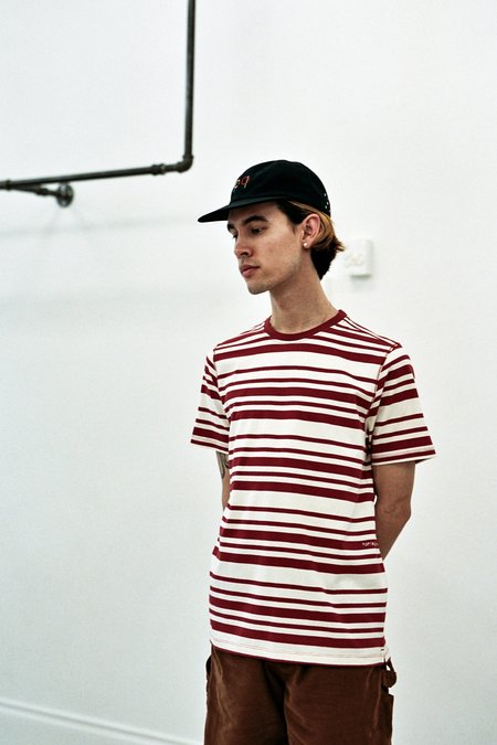 Pop Trading Company Striped Tee - Pepper Red/Off White