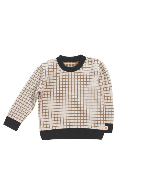 Tinycottons Grid Sweater Knit Beige/Black