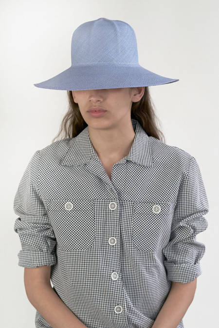 clyde 6 Ridge Hat in Sky Blue Panama Straw