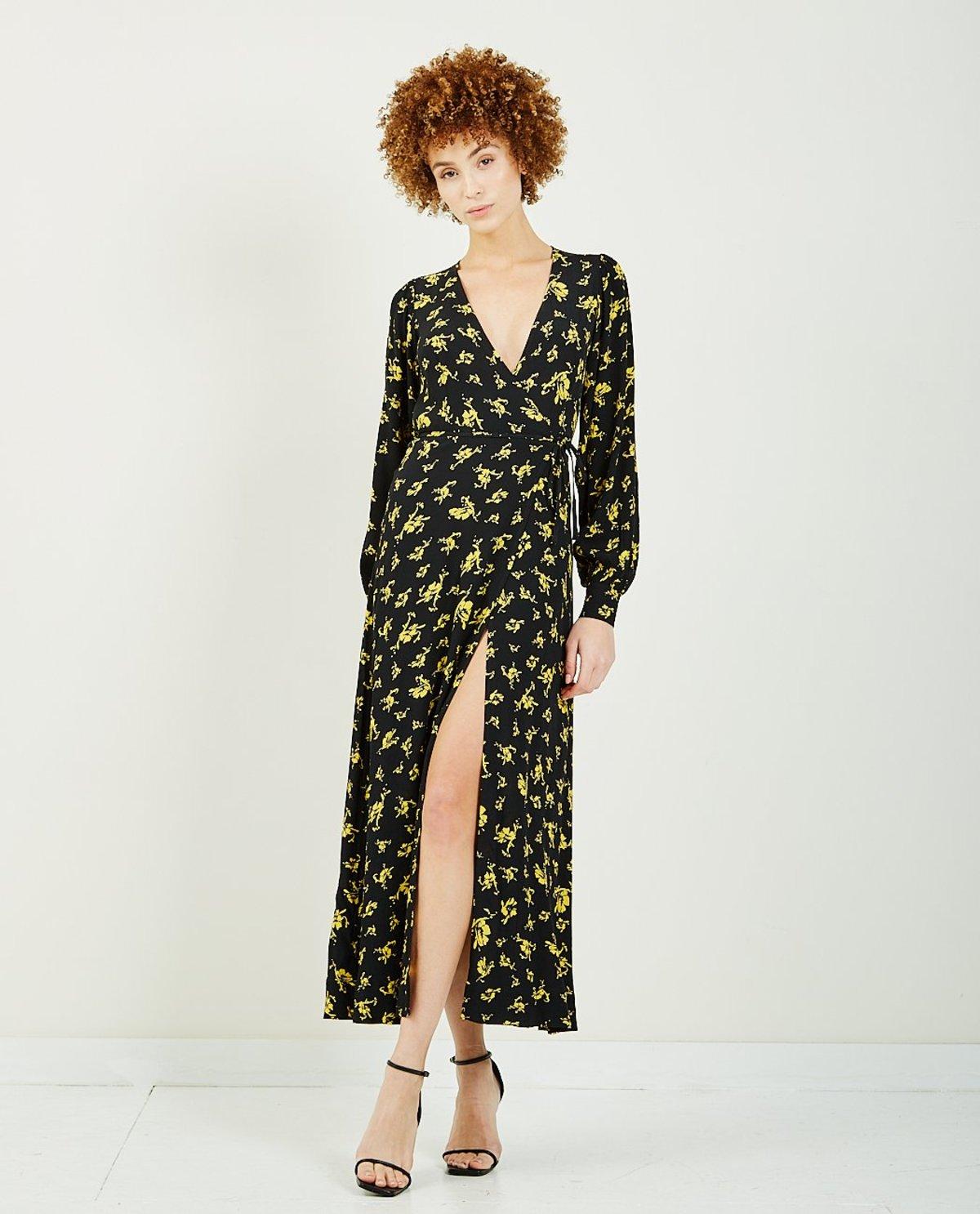 Ganni Printed Crepe Wrap Dress Black Yellow Garmentory