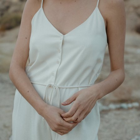 Ozma Cypress Silk Noil Playsuit - Natural