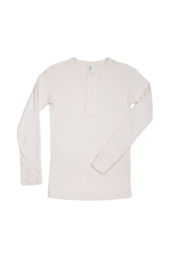 Velva Sheen - Men's Rib Knit Long Sleeved Henley in Off White