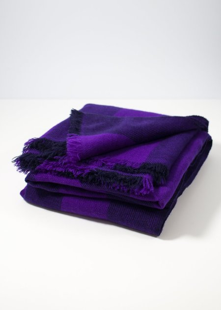 Iris Delruby Bold Landlines Scarf - Mid Purple/Night Blue