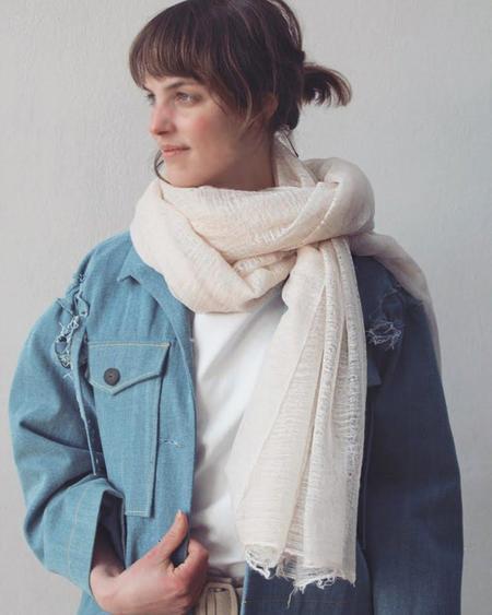 IRIS DELRUBY Flywing cashmere scarf - cream