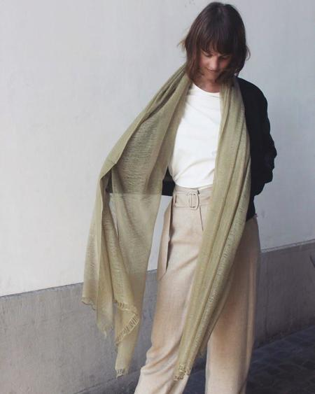 IRIS DELRUBY Flywing cashmere scarf - pale green