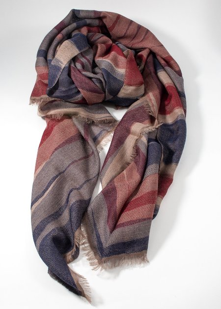 Iris Delruby Waves scarf - blue/red/sand
