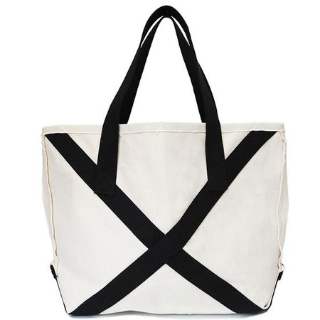 Slow and Steady Wins the Race Boat Tote Bag - white/black straps