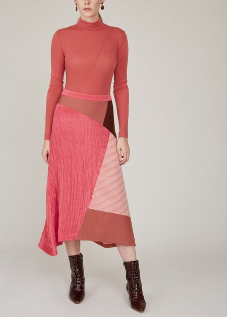 Rejina Pyo Ava Japanese wool suiting mix skirt - red