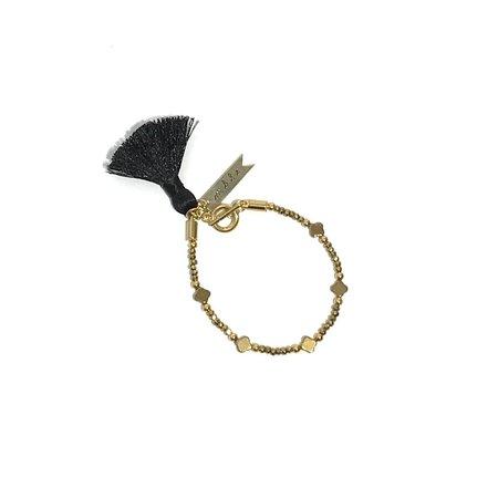 Marijke Bouchier Hematite, Clovers, Black Tassel Bracelet