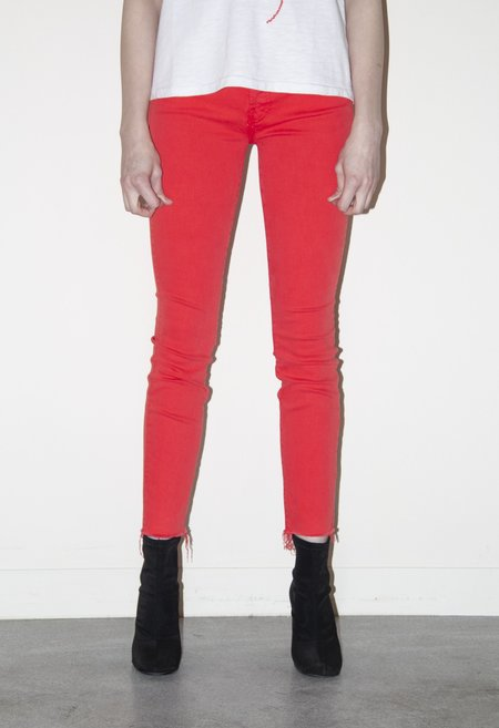 Mother Denim The Stunner Ankle Fray Jean - Tomato