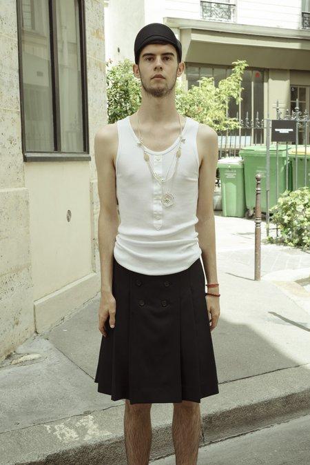 TAKAHIROMIYASHITA The Soloist. Silk Shirt Front Rib Tank - White