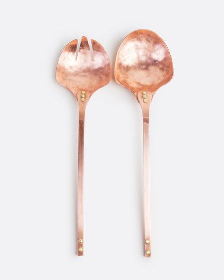Love Adorned Solid Copper Salad Spoon Serving Set