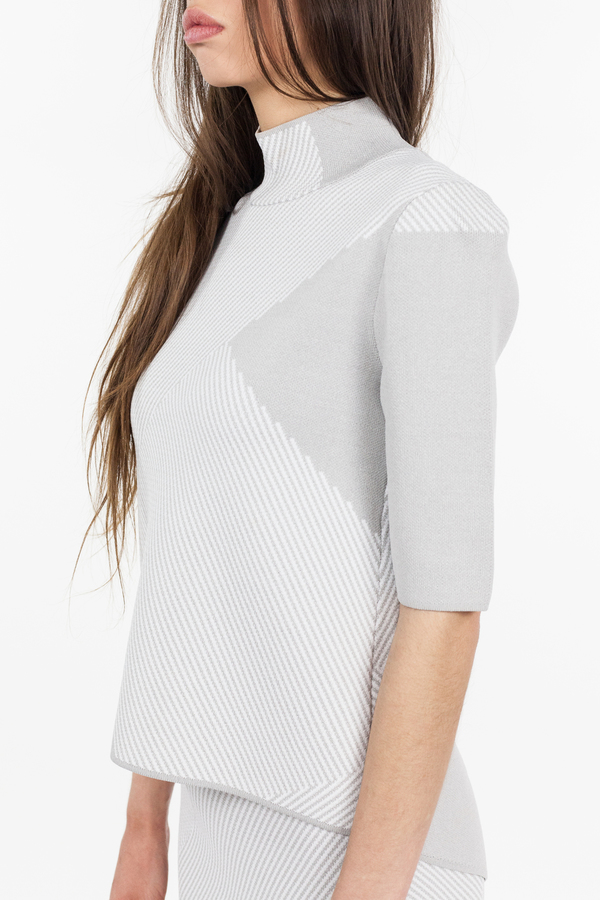 TY-LR Intuition Knit Top - Grey Print