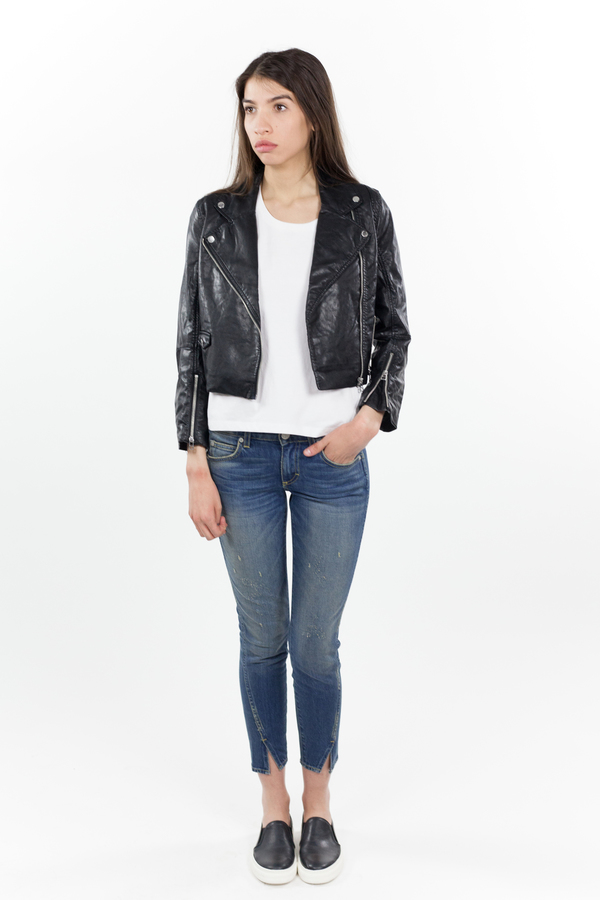 Cheap Monday Visit Leather Jacket - Black