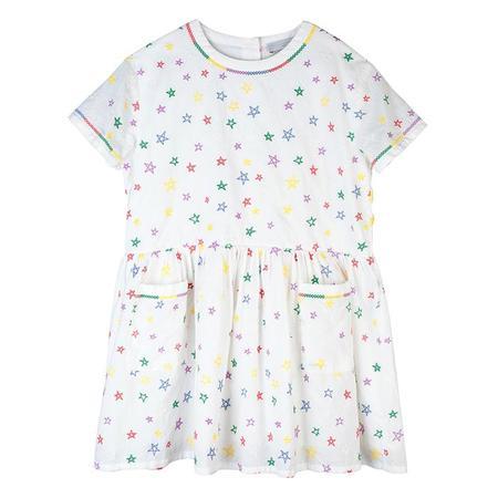 kids Stella McCartney Child Embroidered Stars Dress - White