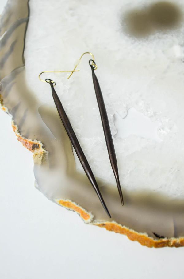 K/ller Blackened Brass Quill Earrings